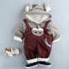 新款婴儿小孩套装加绒加厚宝宝背带服装