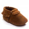 棕色磨砂质感手工软底流苏学步鞋