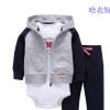 厂家直销外贸春秋婴幼儿童装 男女童开衫连帽摇粒绒外套哈衣套装