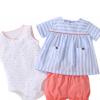 一件代发夏季童装女宝宝婴幼儿纯棉吊带哈衣爬服梭织短裤三件套