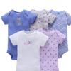 一件代发夏季婴幼童纯棉短袖混色哈衣三角爬衣5五件套套装招代理