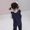 2017日韩童装爆款外贸纯棉童裤 高档轻奢花边女童背带裤一件代发