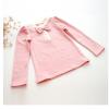 秋季童装女童纯色时尚套头T恤 2017新款儿童淑女长袖蝴蝶结打底衫