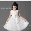 童装女童连衣裙儿童礼服公主裙夏表演出蓬蓬白色婚纱裙子大童主持