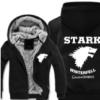 权力的游戏 冰与火之歌 服装 史塔克家族 秋冬装加绒加厚连帽卫衣