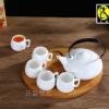 纯白陶瓷咖啡杯壶套装配创意木架咖啡套具英式下花茶套装送礼佳品