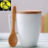 办公创意个性把手陶瓷杯带勺带盖 牛奶杯咖啡杯马克杯