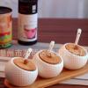陶瓷调味罐 厨房餐厅餐桌调料三件套配竹制托盘特价