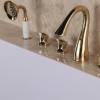 出口德国卫生间浴缸冷热水龙头浴室缸边淋浴器花洒全铜五孔水龙头