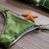 婕雅制衣2018新款绿色硬包分体蕾丝边比基尼 钢托聚拢巴西字裤泳