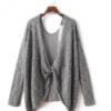 春夏新款性感显瘦美背露背不规则灰色薄款慵懒针织衫罩衫外套
