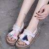 凉鞋女夏季2018新款韩版流苏平跟学生一字露趾凉拖鞋罗马平底女鞋