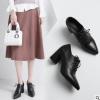 2018春季新款粗高跟牛皮深口单鞋系带女鞋