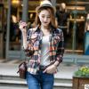 春秋款格子衬衫女韩版修身磨毛长袖打底休闲衬衣大码女装一件代发