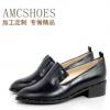 春秋季新款复古铆钉纯色小皮鞋真皮时尚尖头平低跟单鞋女厂家直销