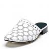 粗跟真皮拖鞋女欧美夏季新品时尚包头纯色低跟大码女皮鞋厂家直销