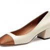 女士皮鞋职业高跟鞋真皮浅口粗跟拼色女单鞋东莞厂家OEM贴牌生产