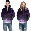 个性紫色星空3D数码印花情侣上衣 套头口袋欧美大码休闲卫衣