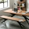 创意休闲图书馆咖啡厅电脑书桌做旧铁艺桌椅美式复古实木办公桌