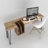 美式乡村做旧家具实木工作桌电脑桌复古书桌创意铁艺实木桌子定做