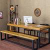 欧式实木桌子餐厅餐桌椅组合原木板办公桌铁艺职员会议桌复古书桌