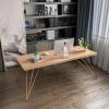 北欧实木电脑桌 简约工作室金色铁艺书桌家用小户型学习桌书法桌
