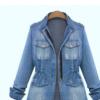 速卖通Ebay亚马逊热卖爆款女装欧美大码显瘦长袖水洗牛仔拉链外套