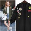速卖通亚马逊eBay春秋女装欧美风大码中长款徽章长袖风衣棒球外套