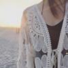 夏季新款七分袖蕾丝开衫外套网纱太阳花防晒衣女中长款镂空防晒服