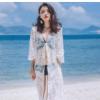 海边度假比基尼防晒罩衫沙滩服镂空蕾丝防晒衣中长款蕾丝开衫外套