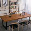 北欧铁艺实木办公桌培训洽谈会议长条桌厂家直销