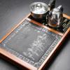 花梨木四合一茶具套装全自动电热电磁炉一体实木茶托配天然乌金石
