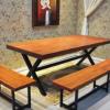 宏勇 复古做旧铁艺餐桌家用休闲实木桌咖啡厅酒吧桌椅可定制