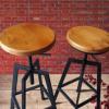 美式复古实木酒吧椅休闲酒吧高脚升降圆凳酒吧吧台椅铁艺吧凳定做