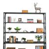 美式铁艺置物架实木多层复古储物架书房落地书架客厅简易展示架