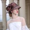高端定制 帽子女春夏季菲律宾麻帽复古英伦优雅度假礼帽女士盆帽