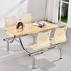 厂家批发现代简约不锈钢连体快餐桌椅组合学校员工食堂不锈钢餐桌