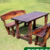 公园户外景区田园休息休闲碳化防腐木火烧木实木桌椅组合套装批发