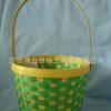 竹篮 黄绿色相间竹编手提篮(带活动手把) 竹编收纳篮