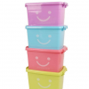 大号加厚笑脸塑料收纳箱收纳盒透明玩具杂物整理盒车载储物箱批发