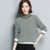 半高领格子女式针织衫 韩版套头修身女式针织毛衣打底衫 秋冬新品