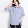 2018新款海军风蓝色条纹衬衫女BF大码开叉不规则宽松显瘦长袖