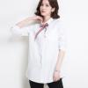 2018春季新品女士衬衫系带白色翻领韩版宽松春装中长款白衬衫