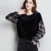 金丝绒卫衣女长袖2018春装新款韩版宽松短款格子灯笼袖套头上衣潮