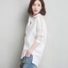 2018春夏新品时尚女式纯色蕾丝拼接衬衫 不规则开叉下摆一件代发