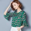 2018夏季新款荷叶边七分袖女装 宽松短款印花女式上衣T恤衫批发