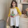 韩国秋季T恤孕妇装上衣 时尚印花中长款孕妇连衣裙宽松长袖秋装潮