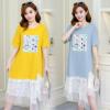 2018夏装新款韩版短袖时尚宽松蕾丝拼接印花短袖孕妇连衣裙中长款