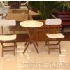 户外实木桌椅可折叠圆桌椅子庭院休闲桌椅 阳台咖啡桌椅三件套