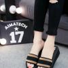 2018夏季时尚外穿拖鞋女夏厚底一字拖室内防滑坡跟凉拖松糕高精品
